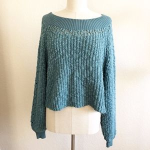Free People Teal Knit Sweater